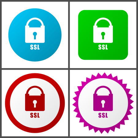 Csl red, blue, green and pink vector icon set. Web icons. Flat design signs and symbols easy to edit Illustration