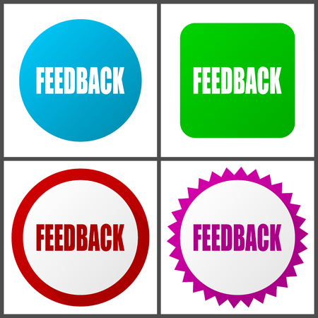 Feedback red, blue, green and pink vector icon set. Web icons. Flat design signs and symbols easy to edit