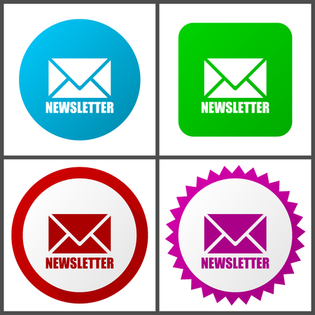 Newsletter red, blue, green and pink vector icon set. Web icons. Flat design signs and symbols easy to edit