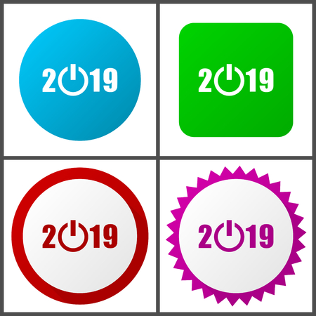 New year 2019 red, blue, green and pink vector icon set. Web icons. Flat design signs and symbols easy to edit