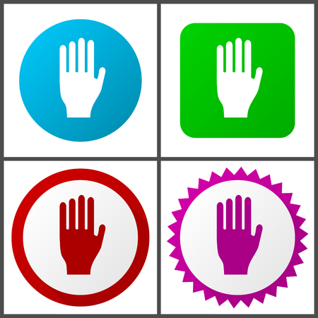 Stop red, blue, green and pink icon set.