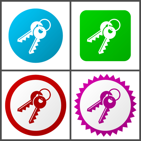 Keys red, blue, green and pink icon set. Web icons. Ilustração