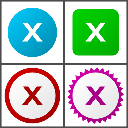 Cancel red, blue, green and pink icon set. Web icons. Ilustração