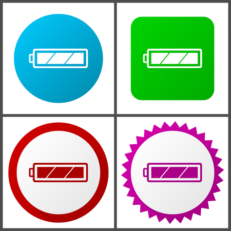 Battery red, blue, green and pink icon set. Web icons.