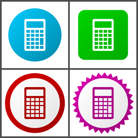 Calculator red, blue, green and pink icon set. Web icons.