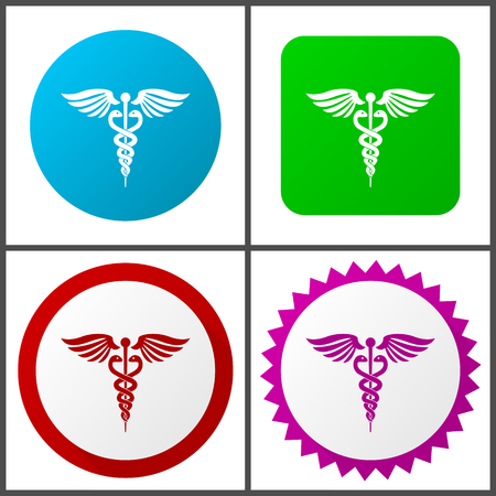 Emergency red, blue, green and pink icon set. Web icons. Illustration