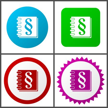 Law red, blue, green and pink icon set. Web icons. Standard-Bild - 113020133