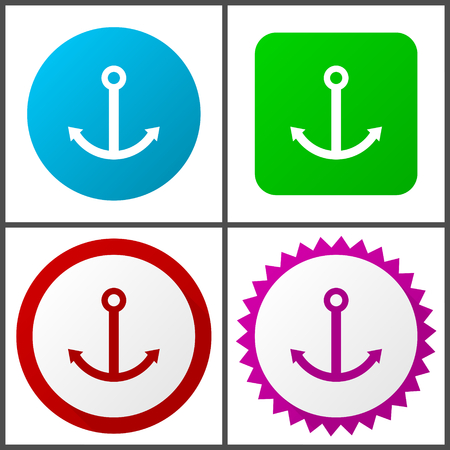 Anchor red, blue, green and pink icon set. Web icons. Ilustração