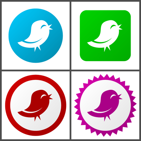 Bird red, blue, green and pink icon set. Web icons.