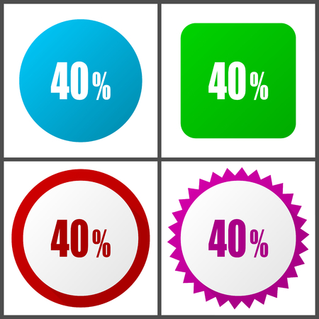 40% red, blue, green and pink icon set. Web icons.
