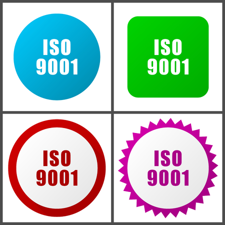 Iso 9001 Flat design signs and symbols easy to edit