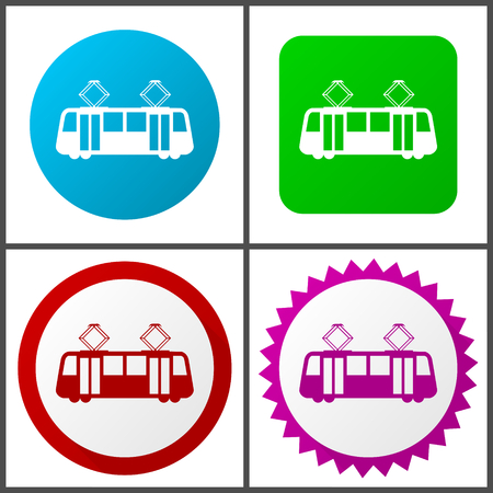 Tram Flat design signs and symbols easy to edit
