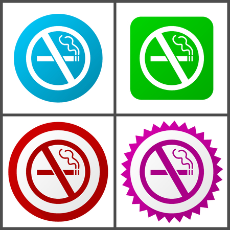 No smoking Flat design signs and symbols easy to edit