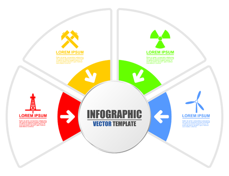 Infographic technology energy production presentation vector template with 4 options. Atomic energy, mining, wind farms, oil and gas exploitation diagram.