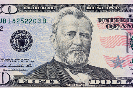 Ulysses S. Grant on the 50 dollars bill macro photo. United States of America currency detail.