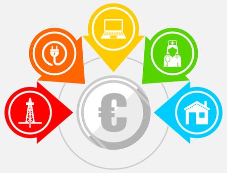 Editable infographic vector template for business presentation, diagram, workflow concept with 5 options Illusztráció