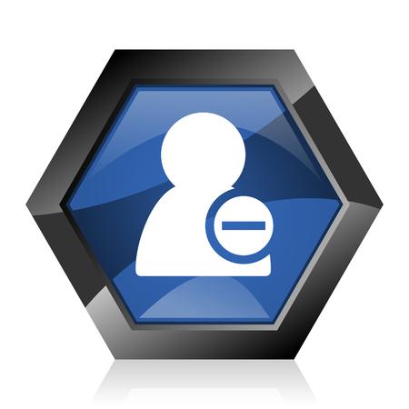 Remove contact dark blue glossy hexagon geometric diamond vector web icon with reflection on white background. Modern design hexagonal internet button.