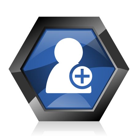 Add contact dark blue glossy hexagon geometric diamond vector web icon with reflection on white background. Modern design hexagonal internet button.