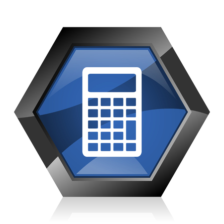 Calculator dark blue glossy hexagon geometric diamond vector web icon with reflection on white background. Modern design hexagonal internet button.