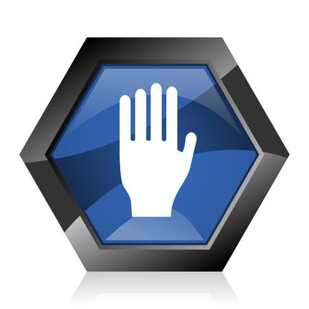 Stop dark blue glossy hexagon geometric diamond vector web icon with reflection on white background. Modern design hexagonal internet button.