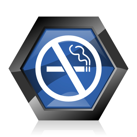 No smoking dark blue glossy hexagon geometric diamond vector web icon with reflection on white background. Modern design hexagonal internet button.