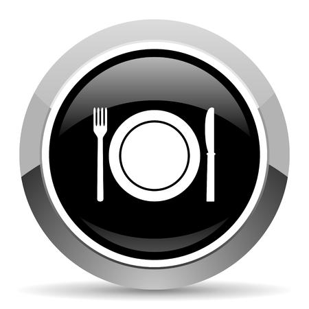 Restaurant vector steel icon. Chrome border round web button. Silver metallic pushbutton.