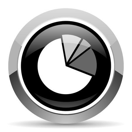 Diagram vector steel icon. Chrome border round web button. Silver metallic pushbutton. Vektorové ilustrace