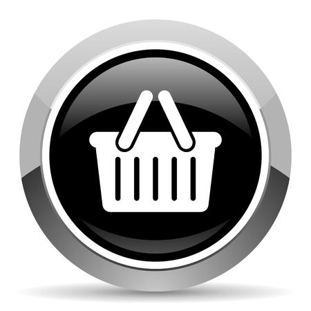 Cart vector steel icon. Chrome border round web button. Silver metallic pushbutton. Illustration