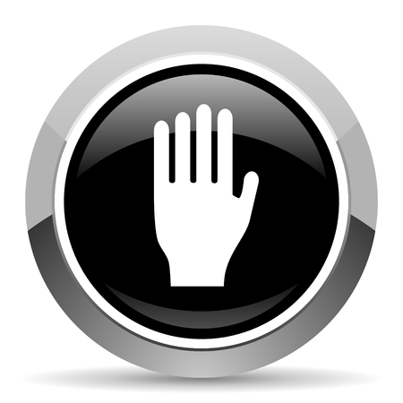 Stop vector steel icon. Chrome border round web button. Silver metallic pushbutton.