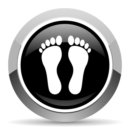 Foot vector steel icon. Chrome border round web button. Silver metallic pushbutton. Stock Illustratie