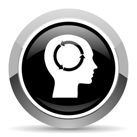 Head vector steel icon. Chrome border round web button. Silver metallic pushbutton. Ilustrace
