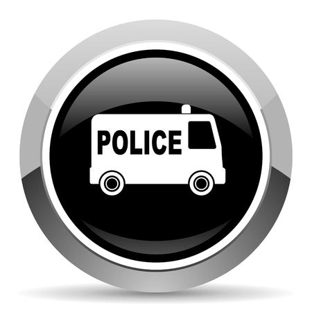 Police vector steel icon. Chrome border round web button. Silver metallic pushbutton.