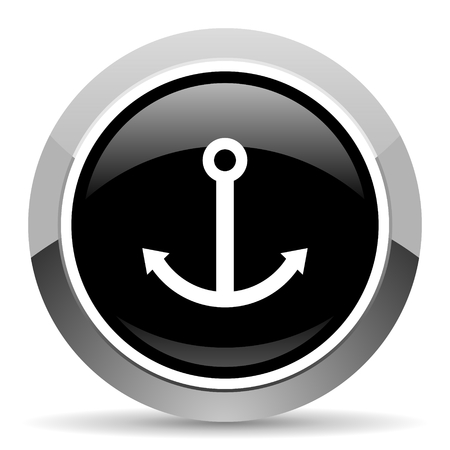 Anchor vector steel icon. Chrome border round web button. Silver metallic pushbutton.