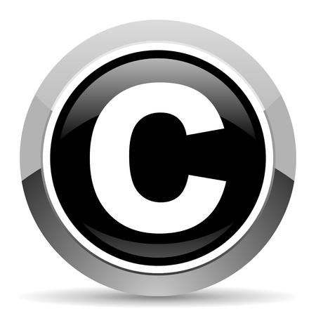 Copyright vector steel icon. Chrome border round web button. Silver metallic pushbutton.