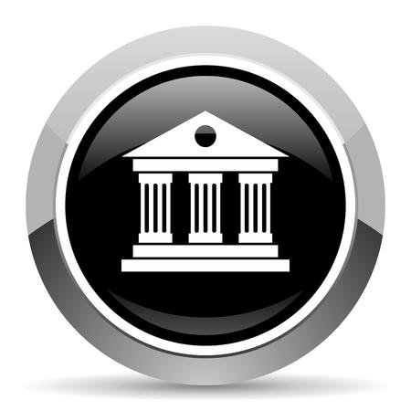 Museum vector steel icon. Chrome border round web button. Silver metallic pushbutton. Vektorgrafik