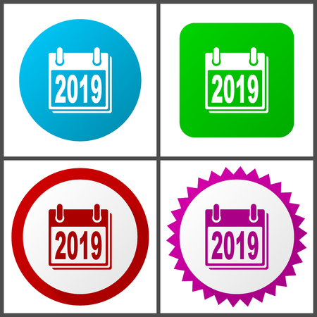 New year 2019 vector icon set.   Colorful internet buttons in four versions