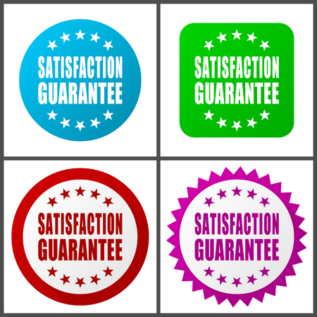 Satisfaction guarantee vector icon set. Colorful internet buttons in four versions