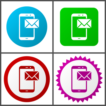 Mail vector icon set. Colorful internet buttons in four versions