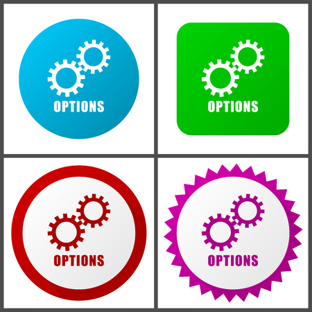 Options vector icon set.  Colorful internet buttons in four versions Stock Illustratie