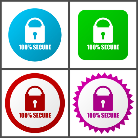 Secure vector icon set. Colorful internet buttons in four versions