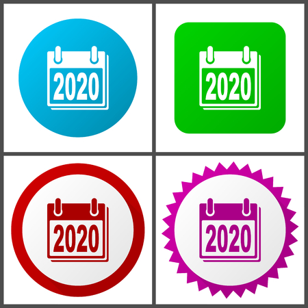 New year 2020 vector icon set.  Colorful internet buttons in four versions