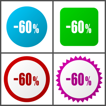 60 percent sale retail vector icon set. Colorful internet buttons in four versions