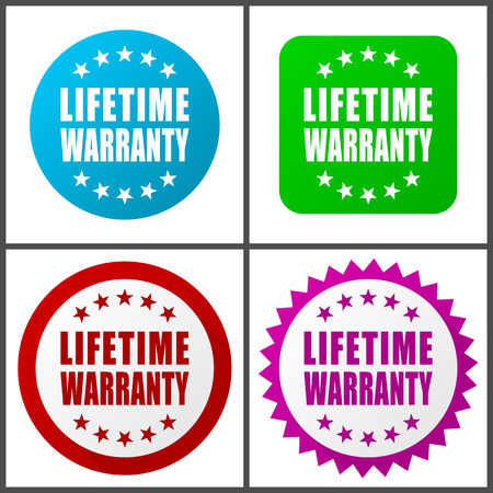 Lifetime warranty vector icon set. F Colorful internet buttons in four versions Illusztráció