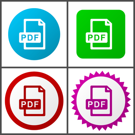 Pdf file vector icon set. Colorful internet buttons in four versions.