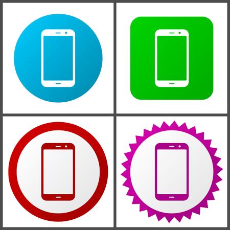 Jeu d'icônes vectorielles pour smartphone. Boutons internet colorés en quatre versions Vecteurs