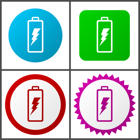 Battery vector icon set.  Colorful internet buttons in four versions