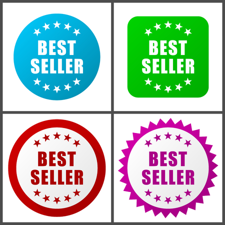 Best seller vector icon set. Colorful internet buttons in four versions