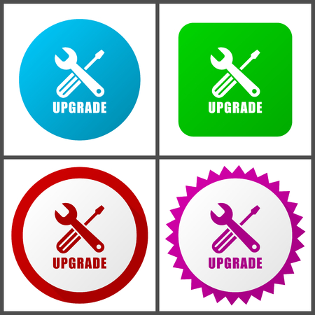 Upgrade vector icon set.  Colorful internet buttons in four versions  イラスト・ベクター素材