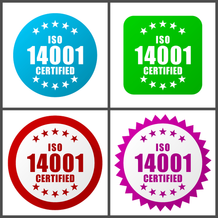 Iso 14001 vector icon set.  Colorful internet buttons in four versions