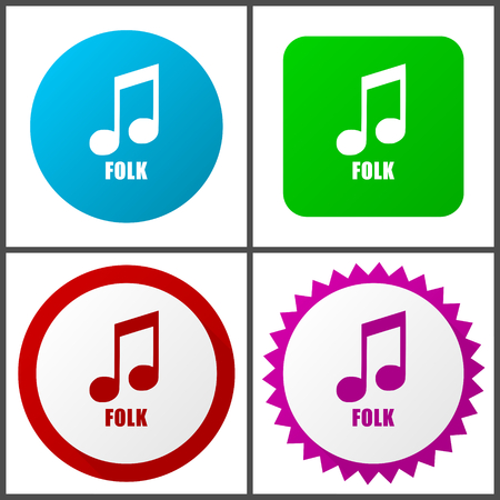 Folk music vector icon set.   Colorful internet buttons in four versions